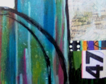 6 inches X 12 inches mixed media work on gallery wrapped canvas.