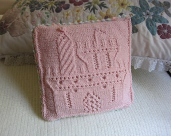 Baby Pillow, pink, heart, castle, reversible, pillow form