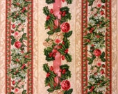 Victorian Rose -Father Christmas Free Spirit Fabric OOP Yolanda Fundora