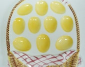 1985 Lefton Picnic Basket Egg Plate  Vintage