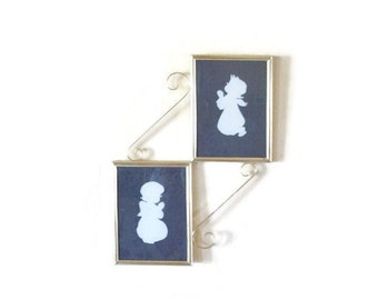 Vintage Silhouettes, Boy And Girl In Gold Frame, Unique Off Center Stairstep Frames