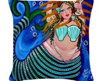 Turquoise Chubby Mermaid Folk Art Pillow - Woven Throw Pillow Whimsical Art by Renie Britenbucher
