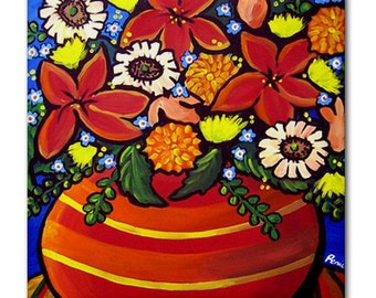 Fall Flowers Floral  Whimsical Folk Art Ceramic Tile