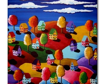 Colorful Fun Landscape Whimsical Folk Art Ceramic Tile