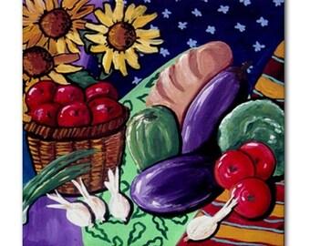 Harvest Still Life Sunflowers Fun Whimsical Colorful Folk Art Ceramic Tile