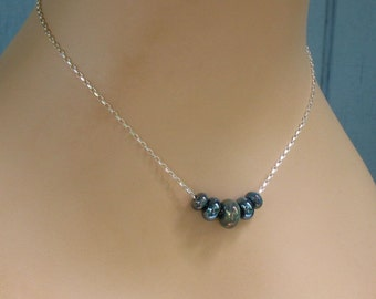 Blue Lampwork Slider Necklace, Sterling Silver, Metallic Blues Artisan Glass - Trendy - Versatile - Modern Necklace