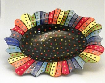 Stoneware Ceramic Serving Dish Rainbow Striped Dotted on Black Celadon Custom Made to Order PL00014