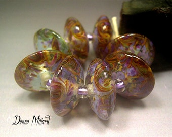 Handmade LAMPWORK Glass Bead Set DONNA MILLARD orchid purple silver sra supplies lamp work autumn fall summer