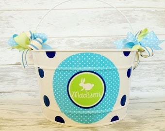 custom personalized 16 QUART bucket for Easter featuring a blue and green design