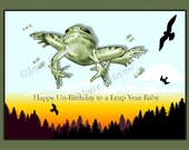 Items similar to Printable Leap Year Birthday Card Leaping Frog