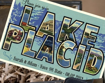 Vintage Large Letter Postcard Save the Date (Lake Placid) - Design Fee
