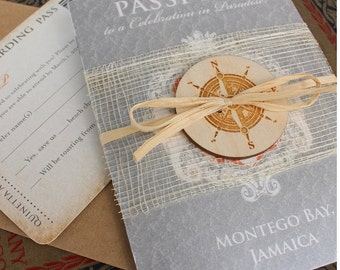 Lucky Seahorse with Compass Passport Wedding Invitation (Montego Bay, Jamaica) - Design Fee