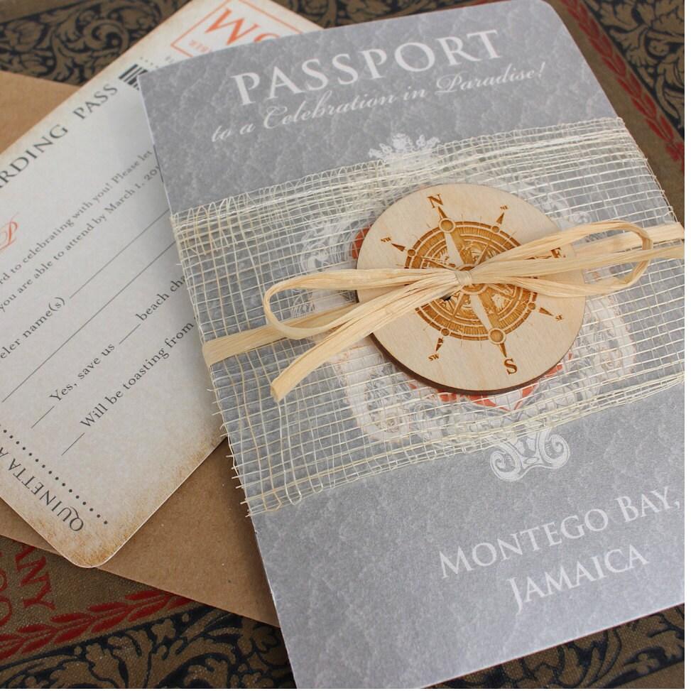 Lucky Seahorse With Compass Passport Wedding Invitation