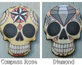 Sugar Skull Day of the Dead Ornament - Original Folk Art Skeleton- Printed and Stuffed Fabric