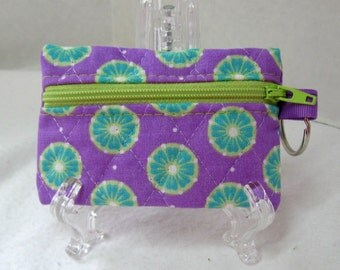 Purple Coin Purse - Quilted Change Purse - Small Zipper Pouch - Purple Earbud Case