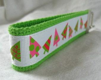 HALF OFF Holiday Key Fob Christmas Tree Key Chain Bright Wristlet LIME Green