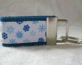 Snowflake Key Chain -Snow Mini Key Ring - Winter Key Fob - BLUE - Small Key Ring