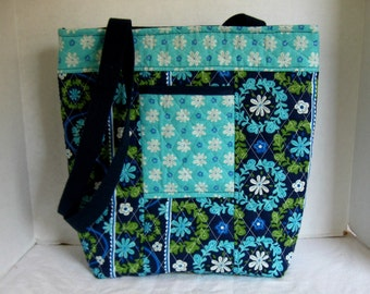 Floral Quilted Purse - Navy Floral Big Tote - Turquoise Olive Padded Tote - ONE OF A Kind
