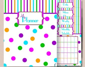 Printable Planner Set - Daily Planner - Menu Planner - Weekly Planner - Monthly Calendar - Cover Included - Instant Download / Circus