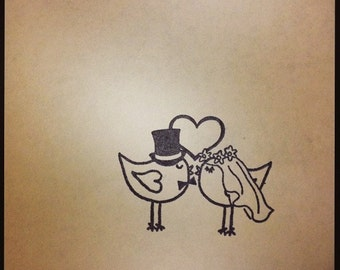Wedding lovebirds rubber stamp love birds bride and groom