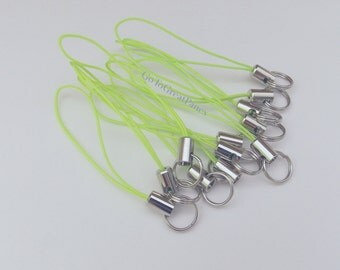 12 Lime Green Cell Phone Charm Straps, w/ Split Rings, neon green straps with silver-tone metal--DIY, bright green, supplies