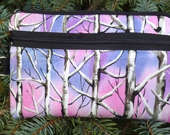 Trees mini wallet, purse organizer, wristlet, Birds Eye View, Sweet Pea