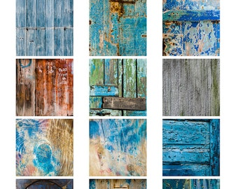 Wood textures digital collage sheet 2 inch square photographs wall wooden grain door blue green worn peeling grungy instant download pdf jpg