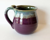 Purple and Green Mug, ready to ship, handmade in the USA, holds 14 oz