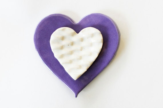 2 Clay Hearts, Ring Dishes Glazed in grape lilac and creamy white