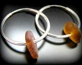 Sea Glass Jewelry, Amber Brown Hoop Earrings - Genuine Sea Glass - Sterling Silver Hoops, Jewellery