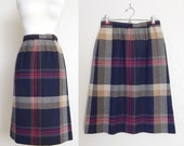 """Vintage 70s High Waisted Plaid Skirt in Navy Blue and Tan - Preppy Knee Length Women's Wool Blend Skirt - Size 8 27"""" Waist"""