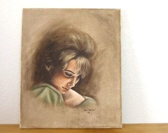 Mid Century Woman's Portrait - Oil Pastel on Raw Silk - Fine Art Vignette Beautiful 60s Bombshell Bardot Type - Large Vintage Wall Decor