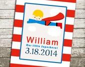 Superman Superhero Print - a Great Gift for Newborn Baby Nursery or Boy Bedroom