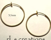 Hoop Earrings 35mm Non-Pierced Gold Plated Brass - 1 pair