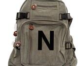 Backpack, Helvetica Monogram Backpack, Canvas Backpack, College, School, Personalized Diaper Bag Backpack, Womens Backpack, Mens Backpack
