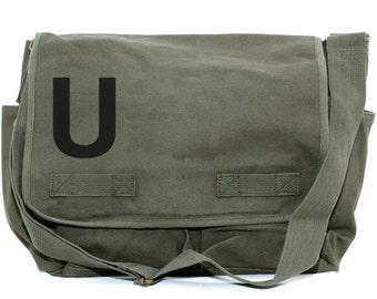 Messenger Bag, Monogrammed Bag, Personalized Bag, Initial, Crossbody Canvas Bag, Personalized Groomsmen Gift, Men Messenger Bag, Typography
