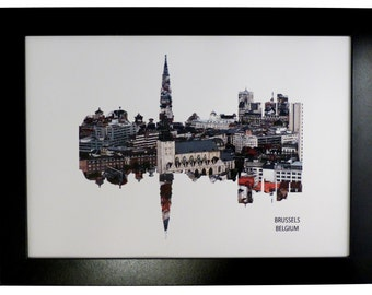 Brussels Skyline Print with aerial city photo