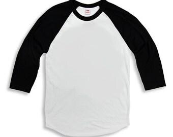 "Vintage Tee Baseball Shirt Red, Green or Black Custom Size  ""Any josiekatstrunk Design"" Retro"