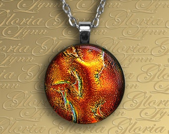Fused Dichroic Glass Pendant Jewelry - Red Hot  - O152