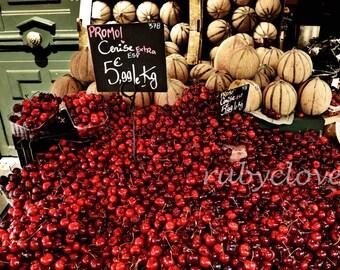 PARIS CHERRIES, Parisian Market, French Fruit Stand, MONTMARTRE Photo, Amelie, Quintessential France, European City Photography,Village Life