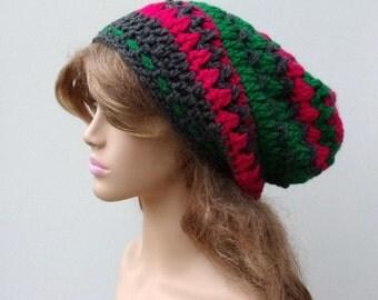 Sale slouchy hat, Tyrolia green fuchsia gray Slouchy Beanie Dreadlock Hippie tam hat, woman slouch hat