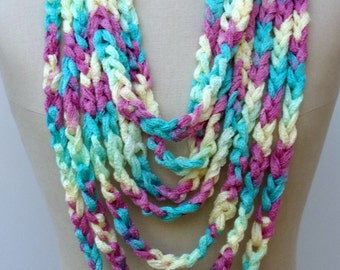 Pastel pink yellow green aqua Camo Cowl loop rope circular chain Infinity Scarf Fiber necklace endless circle neck wear vegan