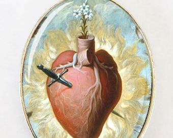Sacred Heart LARGE 40X30mm Glass domed pendant religious catholic