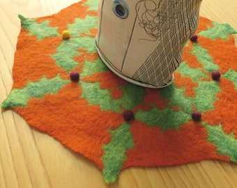 orange holiday table mat