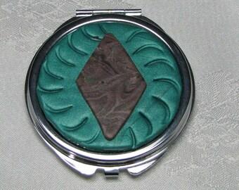 Green Mirrored Pocket Compact Brown Swirled Diamond