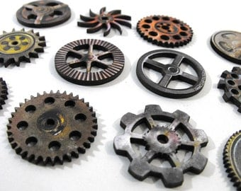 Retro Gear Set - Collection of 12 Wooden Gears