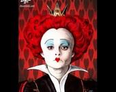 "Print 8x10"" - The Red Queen - Helena Bonham Carter Alice in Wonderland Tim Burton Johnny Depp Pop Art Fantasy Mad Hatter Fight Club Hearts"