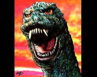 "Print 8x10"" - Godzilla - King of Monsters Vintage Pop Art Creature Japanese King Kong Ishiro Honda Giant Beast Lowbrow Art Big Huge"