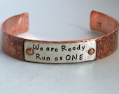 Unisex Agility Cuff Bracelet - We are ready - Copper and Sterling Silver - Canine Agility Bracelet - Dog Agility Jewelry