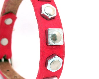 Hot Pink Leather Dog Collar with Industrial Geometric Shapes, Size XS to fit a 8-11in Neck, Eco-Friendly, OOAK
